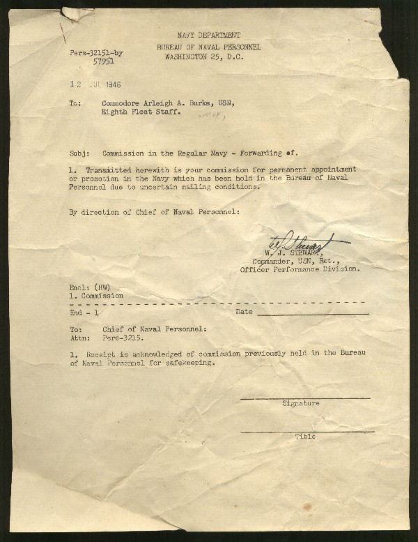 Image of typed letter to Commodore Arleigh Burke from Bureau of Naval Personnel about his commission.
