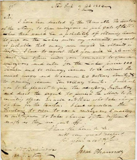 "Image of An autographed letter signed, dated 9 February 1814, New York. To Commodore Bainbridge. Requesting assignment of an officer to Boston to recruit seamen for service on ""the Lakes."" War of 1812 content."