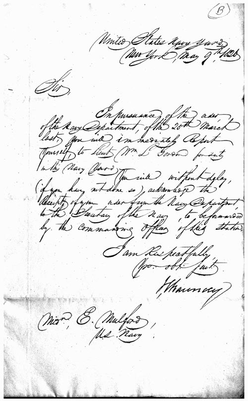 Image of An autographed letter signed, as Commander of the Navy Yard, New York - 1826