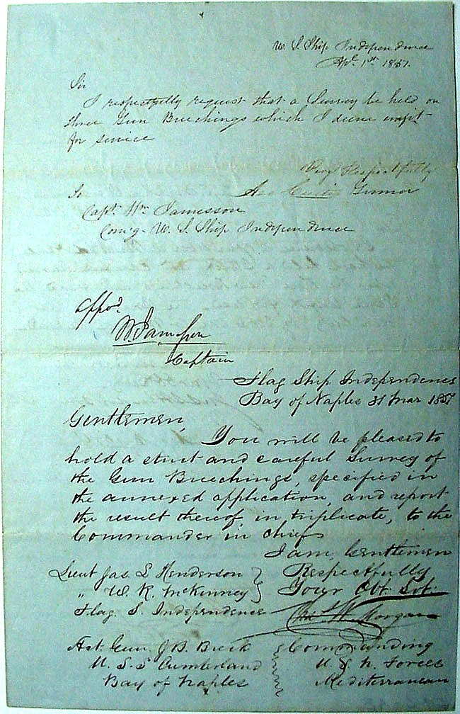 Large image of letter requesting gun survey, dated 1 April 1837 [Page 1].