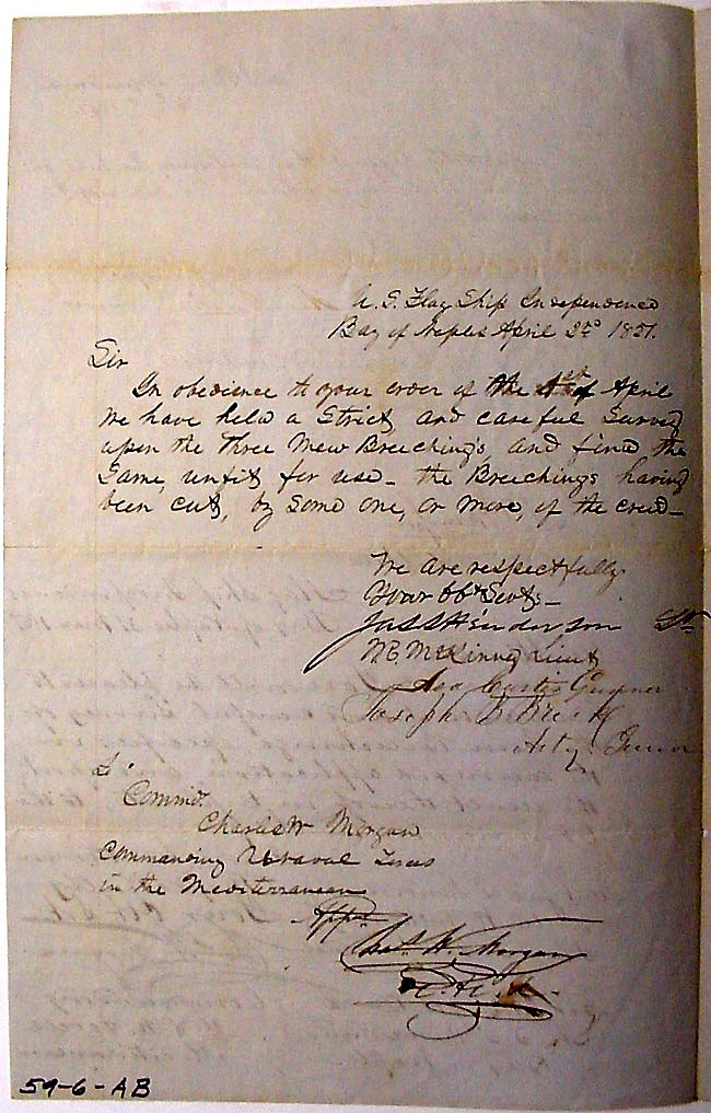 Large image of letter requesting gun survey, dated 1 April 1837 [Page 2]