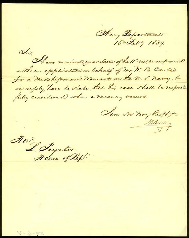 Image of Letter to Congressman L. Paynter dated 15 February 1839.