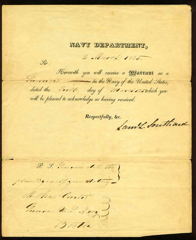 Image of DS dated 2 March 1825. Warrant appointing Asa Curtis as a Gunner, signed by Samuel Southard, Secretary of the Navy.