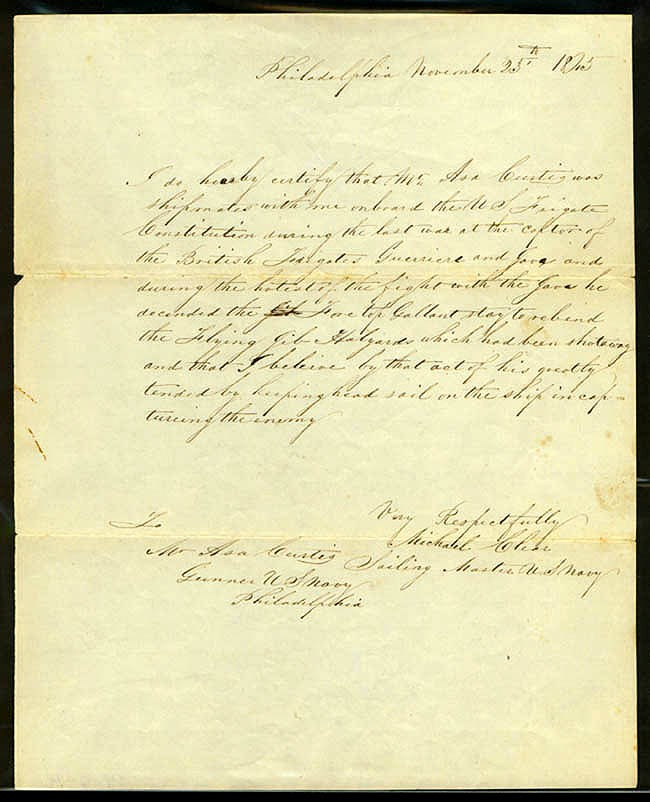 Image of Letter to Asa Curtis from Michael Clear, dated 25 November 1845