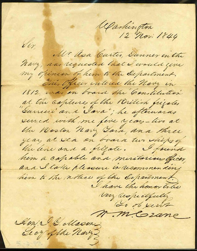Image of Letter of reference, dated 12 November 1844