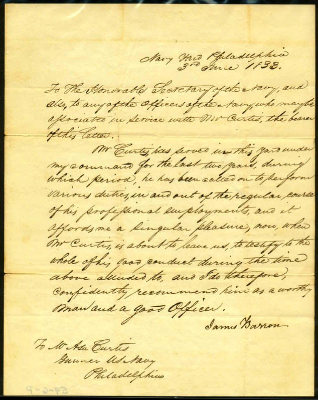Image of Letter of reference, dated 3 June 1833 [Page 1].