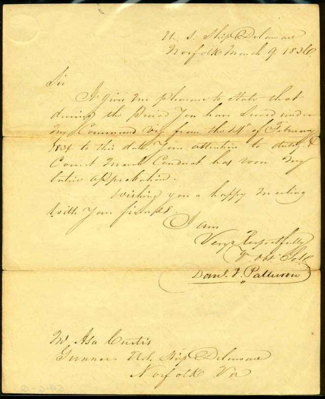 Image of Letter of reference, dated 9 March 1836 [Page 1].