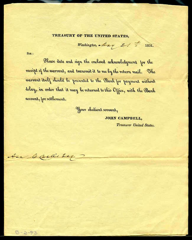 Image of Asa Curtis Warrant for payment, 1831