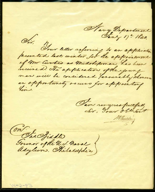 Image of Letter from Secretary of the Navy, M. Paulding, dated 17 January 1840.
