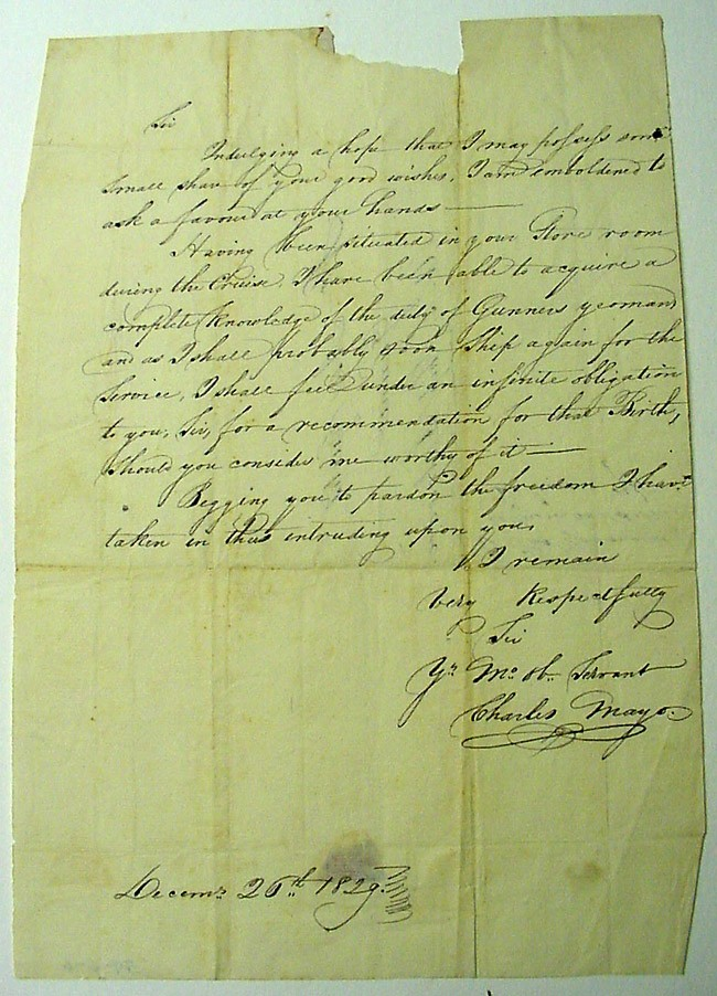 Image of Letter dated 26 December 1829 to Asa Curtis from Charles Mayo [Page 1]