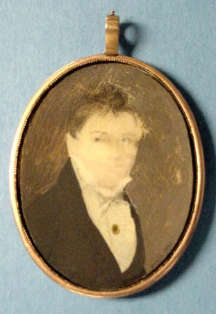 "Miniature portrait of Asa Curtis, 2x2.5"", watercolor on ivory, artist Doyle, early 1800s."