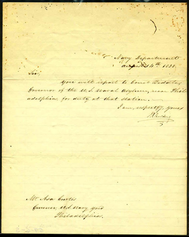 Large image of LS dated 14 August 1838, signed by M. Paulding. Order to report to US Naval Asylum, Philadelphia.