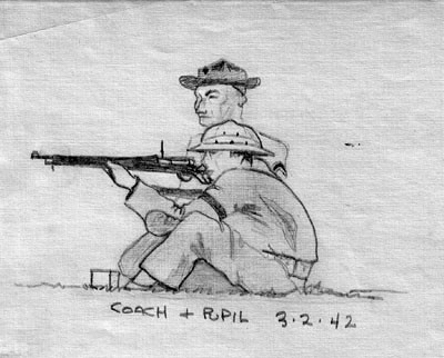 "Image of ""Coach and Pupil 3-2-43,"" pencil sketch of sitting rifleman with instructor."