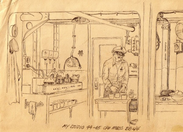 "Image of ink drawing titled ""My Studio 44-45 CPO Mess BB-44."""