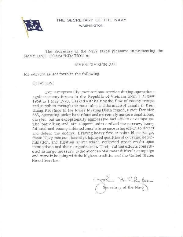 Image of Navy Unit Commendation citation signed by Secretary of the Navy Chaffee.