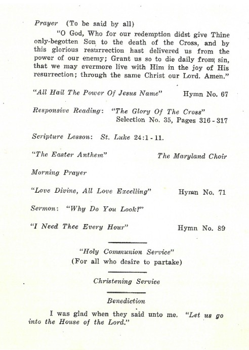 USS Maryland Easter Sunday Brochure