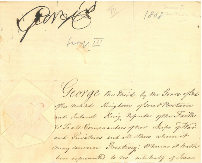 George III - Royal License for Protecting American Ships, 1808, page 1