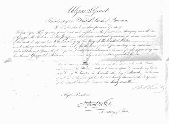 Appointment of George Robeson as Secretary of the Navy, signed by Ulysses S. Grant