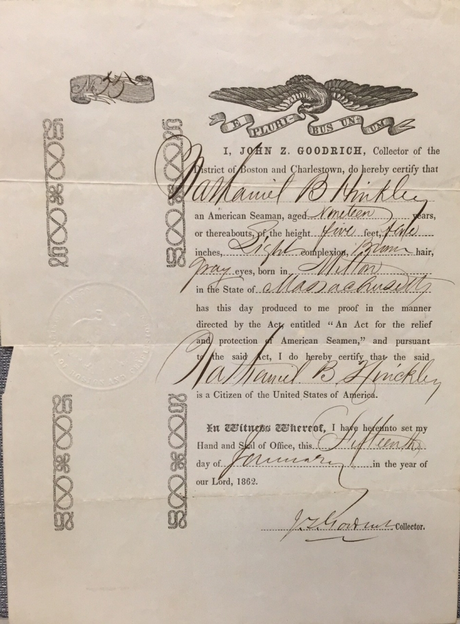 """An Act for the relief and protection of American Seamen"" certificate for Nathaniel B. Hinckley, 15 Jan 1862 (transcription below)"