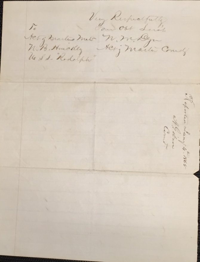Orders of 20 January 1865 from USS Rodolph for Nathaniel B. Hinckley to provide evidence at the court-martial of Acting Third Assistant Engineer Levi Robbins, page 2 (transcription below)