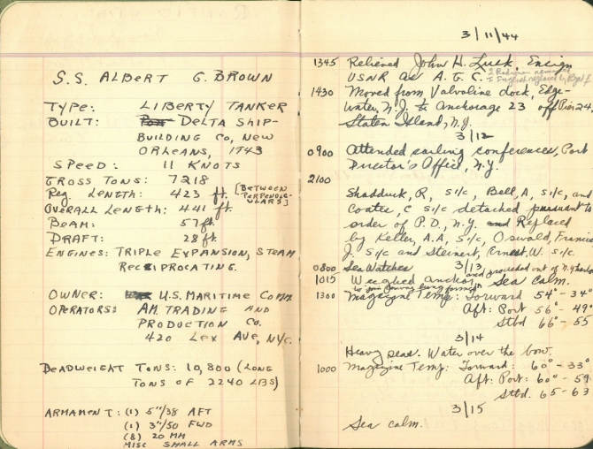 Log for S.S. Albert G. Brown, 11–15 March 1944. Transcription below.