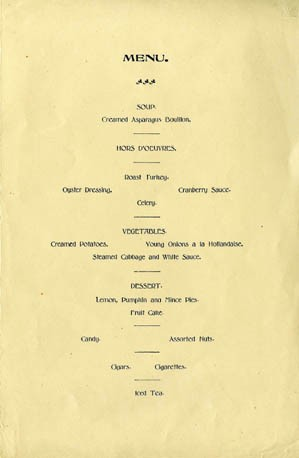 Menu - Thanksgiving Dinner, U.S.S. Raleigh, Hong Kong, 30th November, 1905.