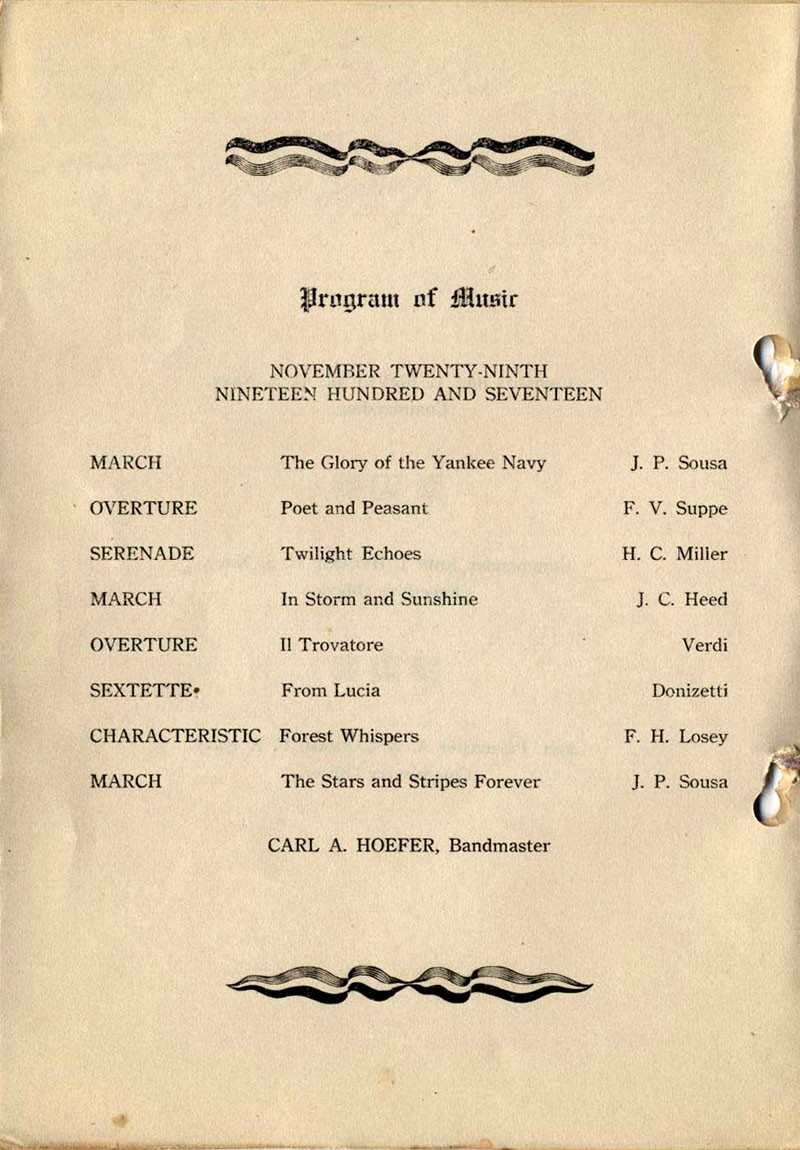 Program of Music, November Twenty-ninth, Nineteen Hundred and Seventeen.