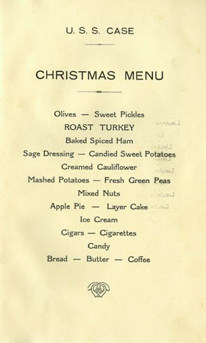 Menu - Christmas Day, U.S. Naval Forces Europe, Destroyer Division Twenty-Five, U.S.S. Case (285), Villefranche, France, December 25 1926.