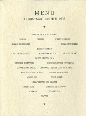 Menu - Christmas Greetings, U.S.S. Astoria, Long Beach, California, 1937.
