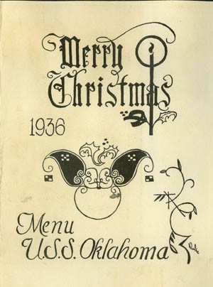Cover - Merry Christmas, Menu, U.S.S. Oklahoma, 1936.