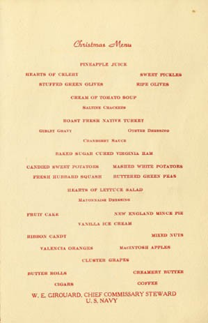 Menu - Christmas Dinner, U.S. Navy Receiving Station, Boston Massachusetts, 1942.