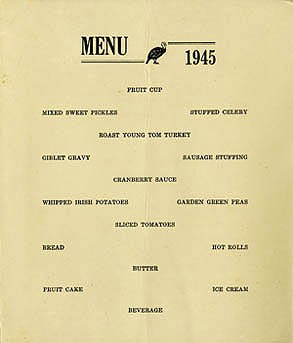 Menu - Thanksgiving Dinner, Naval Training Station, Norfolk, Virginia, 1945.