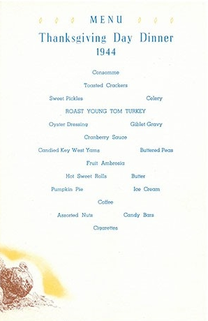 1944 Thanksgiving menu - US Naval Air Station, San Diego, California - page 3