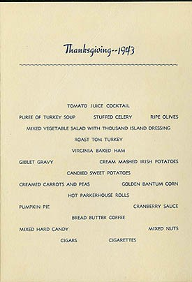 Menu - Thanksgiving Dinner, Thursday, November 25, 1943, U.S.S. Wake Island.