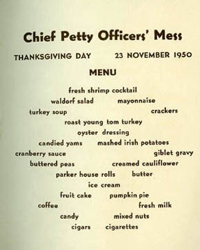 Chief Petty Officers' Menu - Thanksgiving Menu, U.S.S. Sperry, 1950.