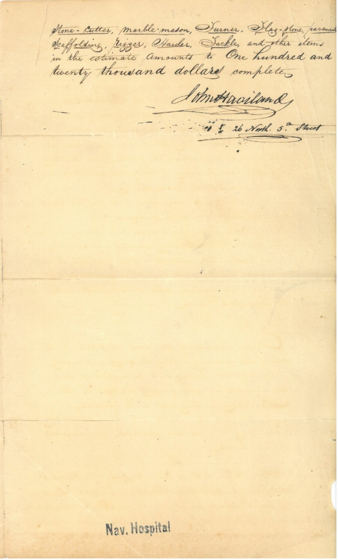 Letter of 11 March 1826 from John Haviland (architect) on a general description of a design and cost of a building a naval hospital, page 3 (transcription below)