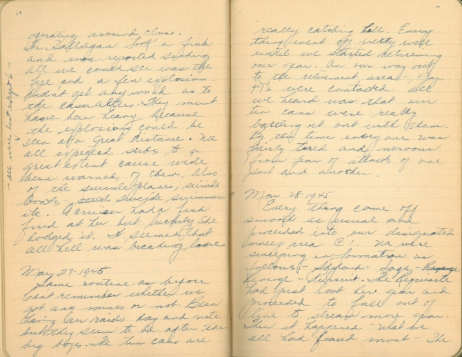 Donald W. Panek World War II Diary pages 10-11. Transcription below.