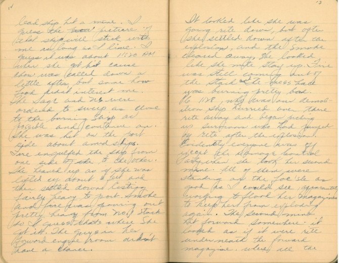 Donald W. Panek World War II Diary, pages 12-13. Transcription below.
