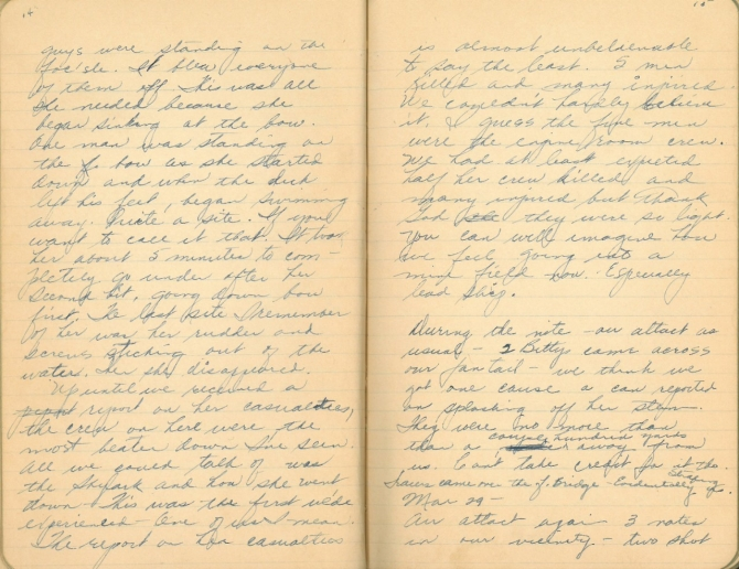 Donald W. Panek World War II Diary, pages 14-15. Transcription below.