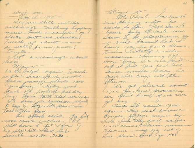 Donald W. Panek World War II Diary, pages 48-49. Transcription below.