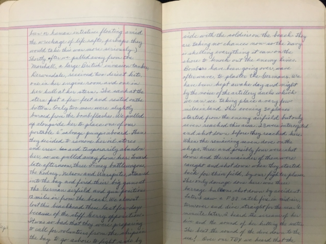 Rozett Diary Sep 14-15, 1943 page 1 (transcription below)