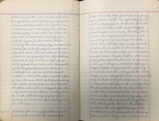 Rozett Diary 14-15 Sep, 1943 page 2 (transcription below)