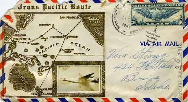 Trans Pacific Route envelope with map and photo of seaplane, postmarked 4 August 1941