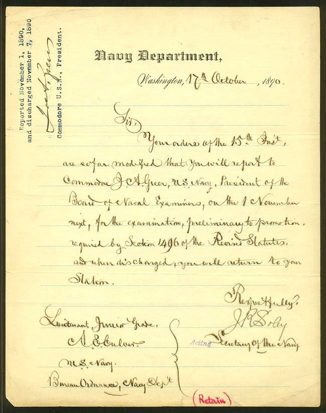 James Russell Soley - letter dated 17 Oct 1890.