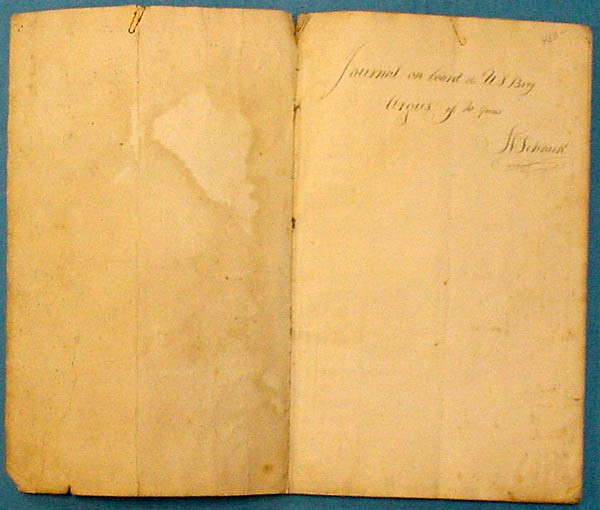 Inside cover - written in longhand - Journal on board the U.S. Brig Argus of 10 guns. S.V. Schaick.