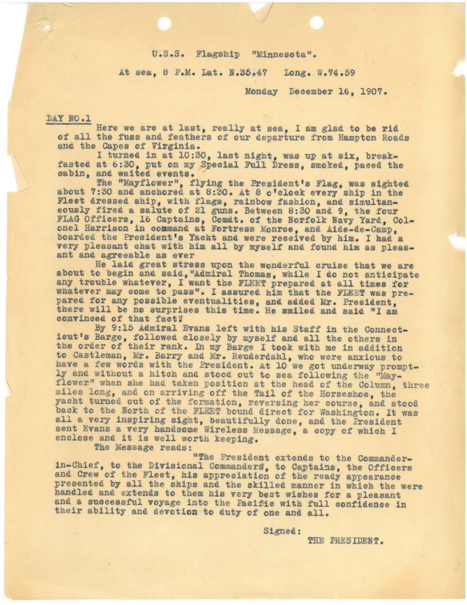 Rear Admiral Charles M. Thomas Great White Fleet Diary, Page 1 (transcription below)