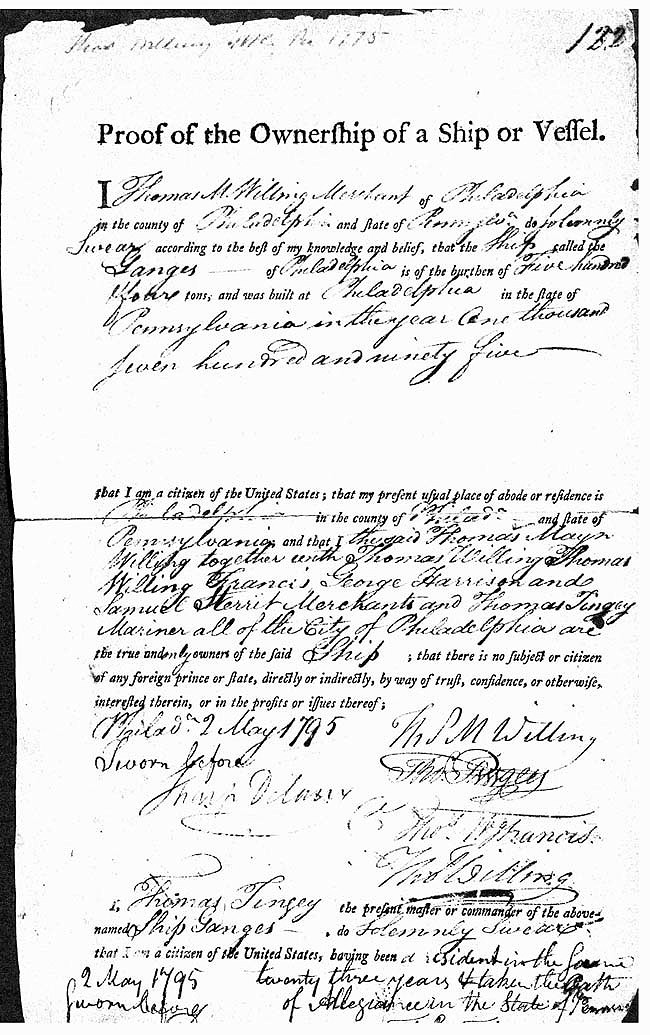 "Page 1 ""Proof of Ownership"" document - 2 May 1795."