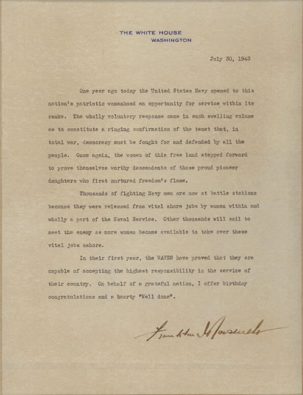 Image of letter signed by President Franklin D. Roosevelt, congratulating WAVES on first anniversary.