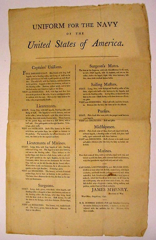 "Image of a broadside of ""Uniform for the Navy of the United States of America."""