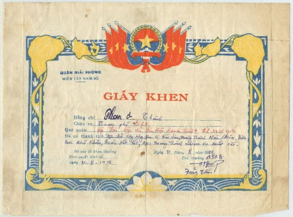 Viet Cong (People's Liberation Armed Forces) Commendation Certificate.